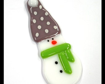 Glassworks Northwest - SNOWBALL the Small Snowman with the Purple Hat and Lime Scarf - Fused Glass Ornament