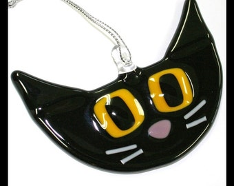 Glassworks Northwest - Cute Black with Yellow Eyes Retro Kitty - Fused Glass Ornament