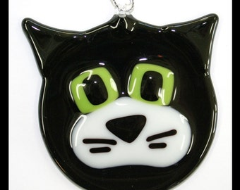 Glassworks Northwest - Black and White Cat - Fused Glass Ornament