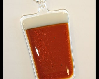 Glassworks Northwest - Pint of Medium (Amber) Beer - Fused Glass Art Ornament