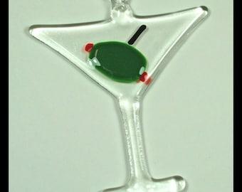 Glassworks Northwest - Martini Glass - Fused Glass Art Ornament