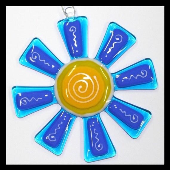 Glassworks Northwest - Brilliant Aqua and Blue Flower Suncatcher - Fused Glass Suncatcher