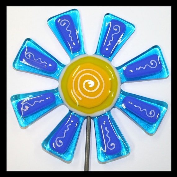Glassworks Northwest - Brilliant Aqua and Blue Flower Stake - Fused Glass Garden Art