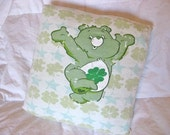 Lucky Care Bear - Upcycled Throw Pillow Cover