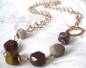 "Rainbow Jasper & Rose Gold Necklace - ""The Sophia Necklace"""