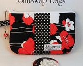 Shuswap Bags Black White and Red Floral Wristlet and Mirror Set