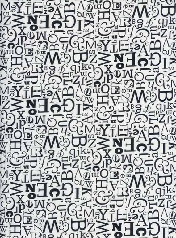 graphic font fabric black and white letters alphabet typing fat quarter