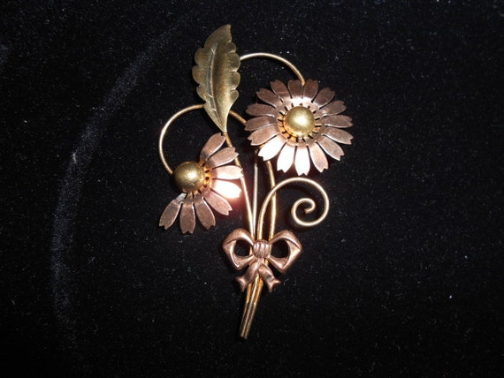 Antique Estate Van Dell Signed Gold filled Brooch Pin Art Deco daisy bow