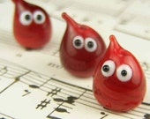 Lampwork blood drops........ set of 3 beads........ sra