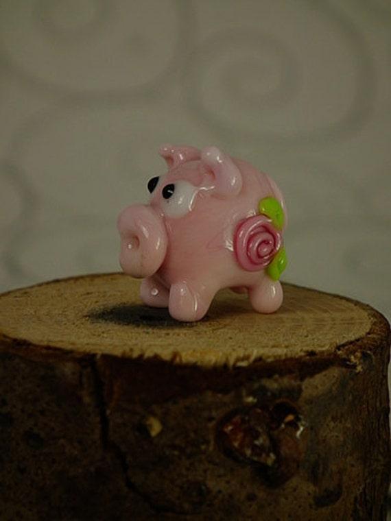Petunia....... lampwork pig bead.. sra FREE SHIPPING