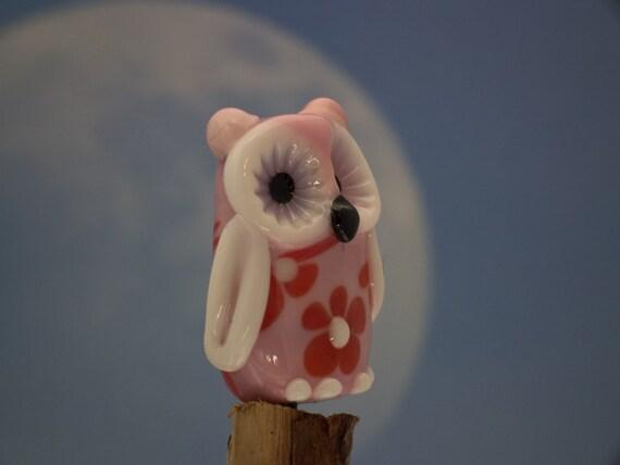 Paisley....... lampwork flower owl bead...sra