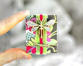 Tiny Book Drake the Dragonfly Miniature Blank Accordion Book Bug Photo Album Wee Flower Journal Scrapbook