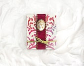Tiny Maiden Book Miniature Blank Accordion Photo Album Scrapbook Red Damask Luxe Romantic Sweet 16 American Girl Doll Cameo Fairy Goddess