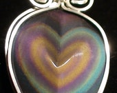 Rainbow Obsidian Heart Wire Wrapped in Sterling Pendant
