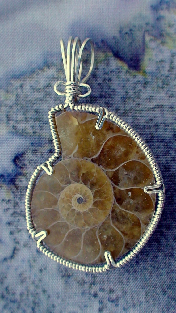 Silver Ammonite Fossil Pendant
