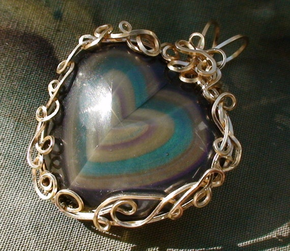 Rainbow Obsidian Heart 14k GF Wire Wrapped Pendant