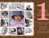 CHARMING...Custom Photo First Birthday Invitation...by KM Thomas Designs