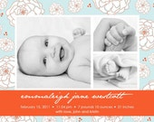 Baby Girl Birth Announcement - Photo Birth Announcement - Girl Adoption Announcement - Blue and Orange - Floral Background - Multiple Photos