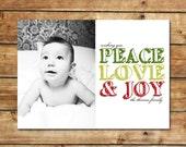 CHEERFUL LOVE...Custom Photo Holiday Card...by KM Thomas Designs