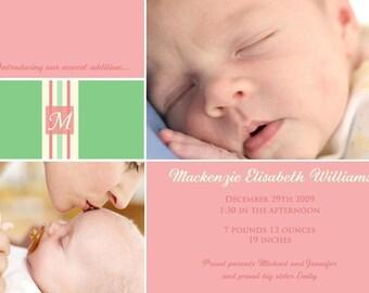 SHERBERT...Custom Photo Baby Girl Announcement...by KM Thomas Designs