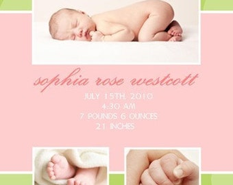Photo Baby Girl Birth Announcement - Girl Birth Announcement - Multiple Photos - Pink and Green - Polka Dots - Adoption Announcement - BA109