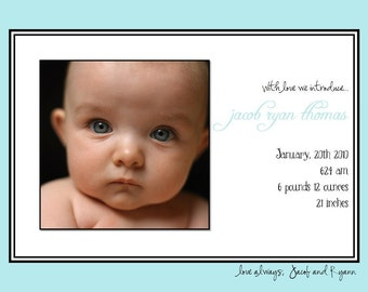 SIMPLE CLASSIC...Custom Photo Birth Announcement...by KM Thomas Designs