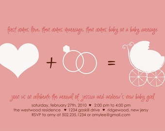 First Comes Love Baby Shower Invitation : Printable Girl Baby Shower Invitation - Pink Baby Carriage - Baby Girl Sprinkle