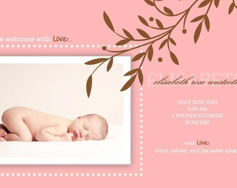 Photo Girl Birth Announcement : Baby Girl Announcement - Girl Baby Photo Card - Pink and Brown - Branch - Leaves - Framed Photo
