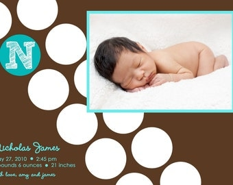 Baby Boy Birth Announcement - Printable Photo Birth Announcement - Boy Baby Announcement - Blue and Brown - Large Dots - Initials