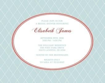 Preppy Wedding Shower Invitation - Printable Bridal Shower - Boy Baby Shower Invitation - Blue and Red - Argyle Diamond Pattern Background