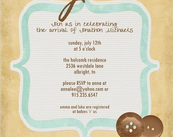 SIMPLE and CUTE...Custom Baby Shower Invitation...by KM Thomas Designs