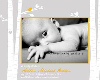 WOODLAND...Custom Photo Birth Announcement...by KM Thomas Designs