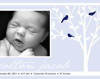 FAMILY TREE...Custom Photo Baby Boy Announcement...by KM Thomas Designs