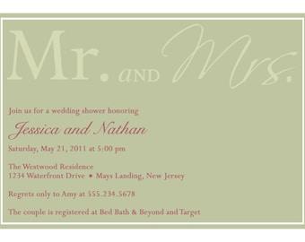 MR and MRS...Custom Wedding or Bridal Shower Invitation...by KM Thomas Designs