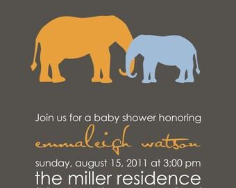 Modern Elephants - Custom Baby Shower Invitation