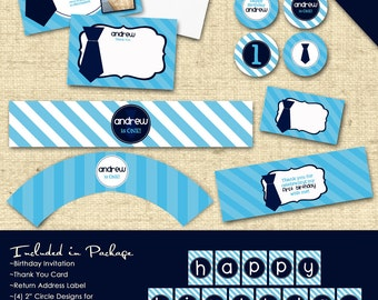 Deluxe Custom Printable Party Package...LITTLE MISTER Collection...Personalized...by KM Thomas Designs