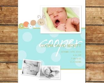 BUGABOO...Custom Photo Baby Boy Announcement...by KM Thomas Designs