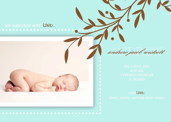 Simple Modern Branch Custom Photo Birth Announcement