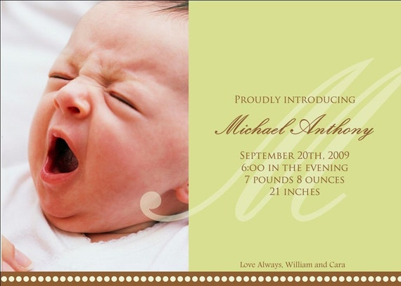 Simple Green Initial Photo Birth Announcements
