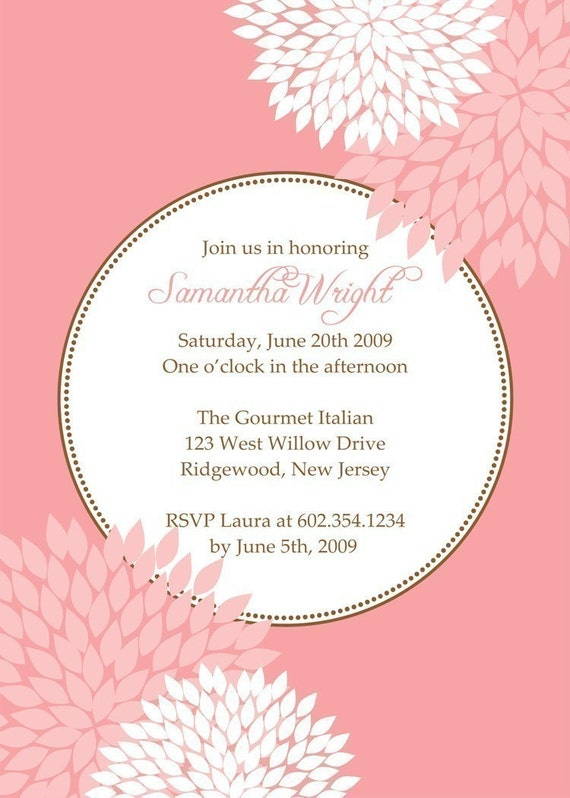 SIMPLE and DELIGHTFUL...Custom Printable Baby or Wedding Shower Invitation with flowers...by KM Thomas Designs