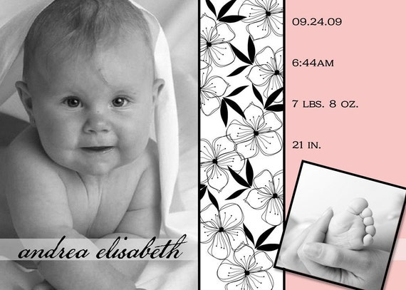 FALLING FLOWERS...Printable Custom Photo Baby Girl Birth Announcement...by KM Thomas Designs