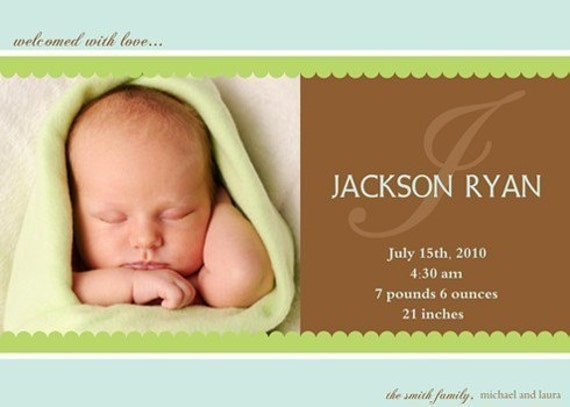 Baby Boy Birth Announcement : Printable Photo Baby Announcement - Baby Boy Announcement - Blue Brown and Green - Large Initial