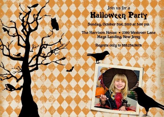 BLACK CROW...Custom Halloween Photo Card or Invitation...by KM Thomas Designs