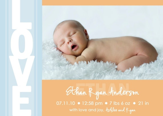 printable photo birth announcement baby boy announcement baby