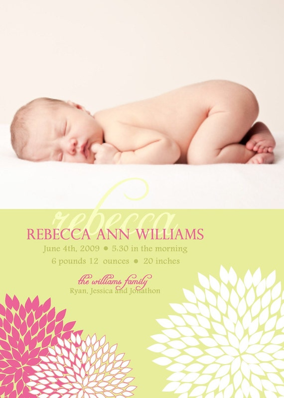 CHEERFUL...Custom Photo Baby Girl Annouoncement...by KM Thomas Designs