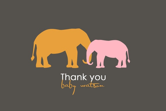 Modern Elephant Thank You Card Design