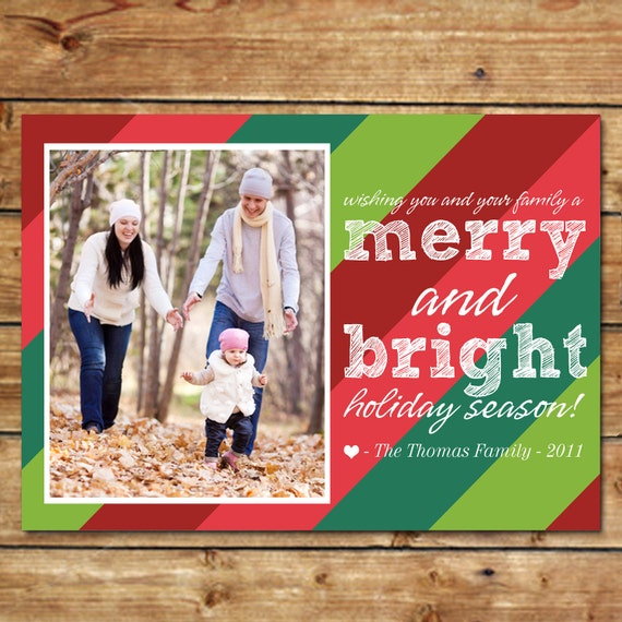 HOLIDAY STRIPES...Custom Photo Holiday Card...by KM Thomas Designs