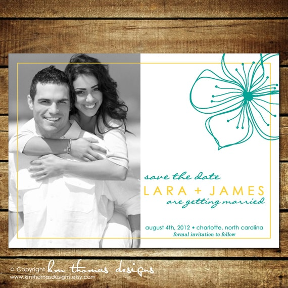 SINGLE FLOWER...Custom Save the Date Announcement...by KM Thomas Designs