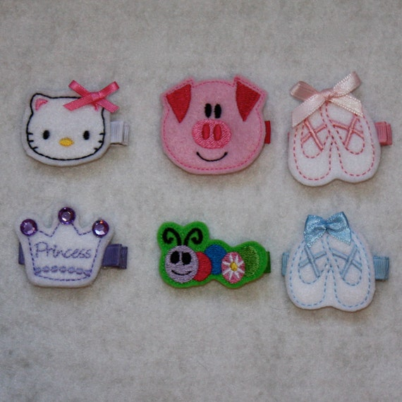 Two Embroidered Felt Clippies (Kitty, Princess Crown, Pig, Ballet Slippers, or Caterpillar)