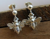 Sterling Silver Bee earrings - Womens Jewelry . earrings . Gift Ideas for Her, Friend, Bridesmaids